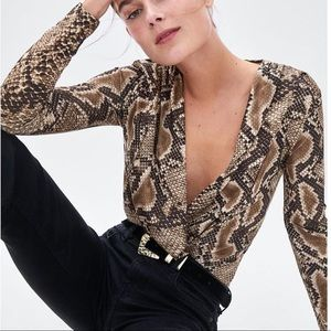 ZARA CROSSOVER SNAKE PRINT BODY SUIT